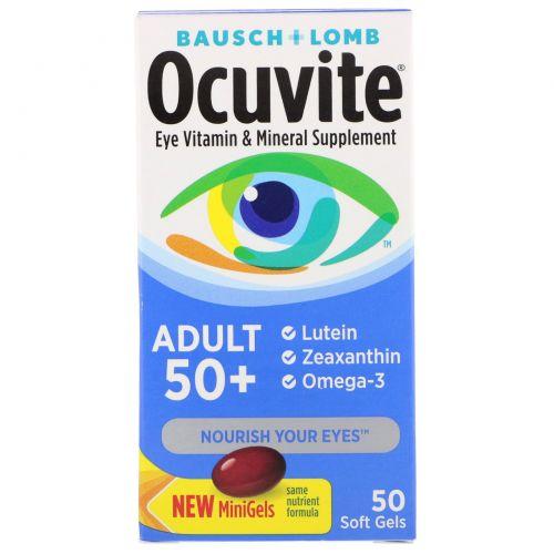 Bausch & Lomb, Витаминная и минеральная добавка для глаз для взрослых от 50 лет, 50 мягких желатиновых капсул