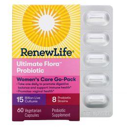 Renew Life, Пробиотики Ultimate Flora, Women's Care, 15 миллиардов, 60 вегетарианских капсул