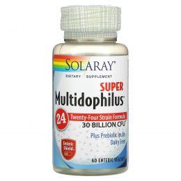 Solaray, Super Multidophilus, 30 миллиардов КОЕ, 60 вегетарианских капсул с покрытием