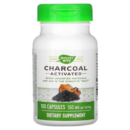 Nature's Way, Древесный уголь (Charcoal), активированный, 280 мг, 100 капсул