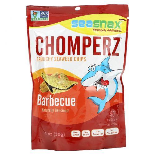 SeaSnax, Chomperz, хрустящие чипсы из морских водорослей, со вкусом барбекю, 1 унция (30 г)