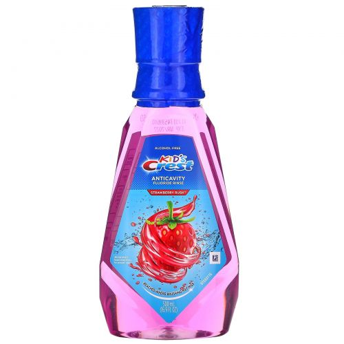 Crest, Kids, Anticavity Fluoride Rinse, Alcohol Free, For Kids 6 & Up, Strawberry Rush, 16.9 fl oz (500 ml)