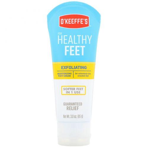O'Keeffe's, Отшелушивающий увлажняющий крем для ног, для очень сухой кожи, треснутые ноги, 85 г (3 унции)