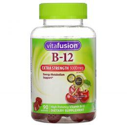 VitaFusion, Сверхсильный B-12, Натуральный вишневый вкус, 3000 мкг, 90 жевательных таблеток
