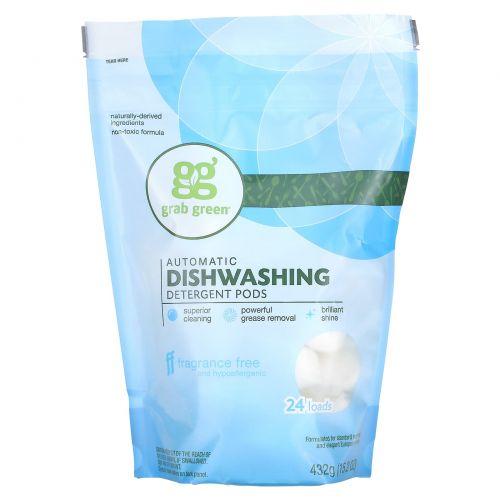 GrabGreen, Средство для автоматических посудомоечных машин, без отдушек, 24 загрузки, 15,2 унции (432 г)