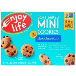 """Enjoy Life Foods, """"Мягкие печеньки"""", мягкое шоколадное печенье, 6 упаковок со снэками, каждая по 1 унции (28 г)"""