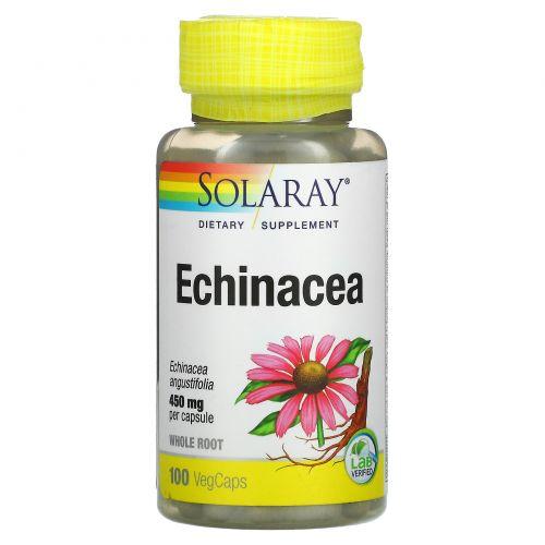 Solaray, Эхинацея, выращиваемая с использованием органических методик, 450 мг, 100 капсул с оболочкой из ингредиентов растительного происхождения