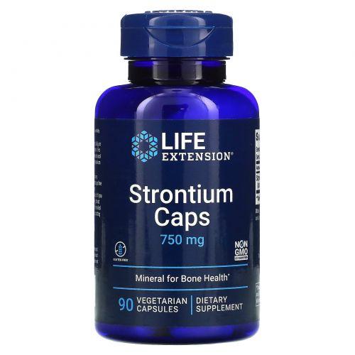 Life Extension, Капсулы из стронция, минералы для здоровья костей, 750 мг, 90 растительных капсул