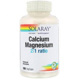 Solaray, Кальций и магний, 180 вегетарианских капсул