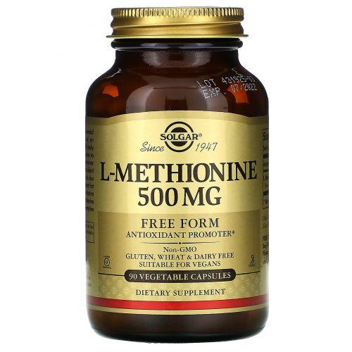 Solgar, L-метионин, 500 мг, 90 растительных капсул