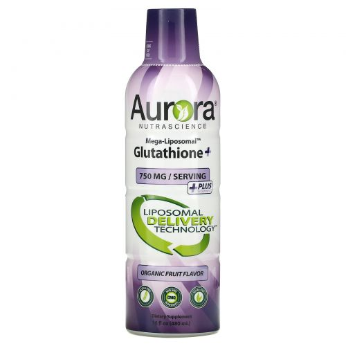 Aurora Nutrascience, Mega-Liposomal Glutathione+ Plus Vitamin C, Organic Fruit Flavor, 750 mg, 16 fl oz (480 ml)