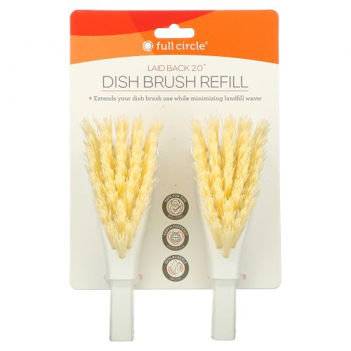 Full Circle, Laid Back 2.0, Dish Brush Refills, 2 Brush Refills