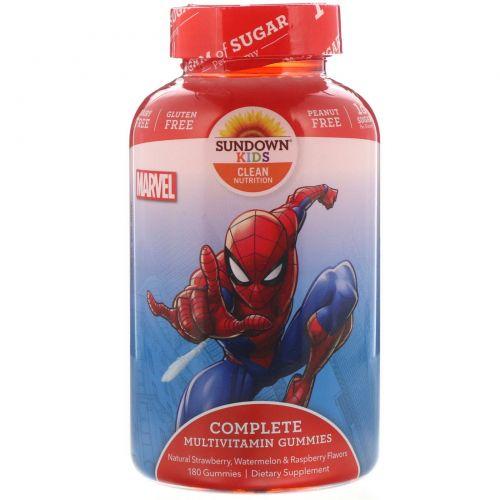 Sundown Naturals Kids, Детский, полный мультивитаминный комплекс (жевательные конфеты), Marvel Spiderman, клубника, арбуз и малина, 180 жевательных конфет