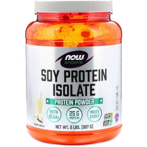 Now Foods, Изолят соевого белка в порошке для спортсменов, ваниль, 2 фунта (907 г)