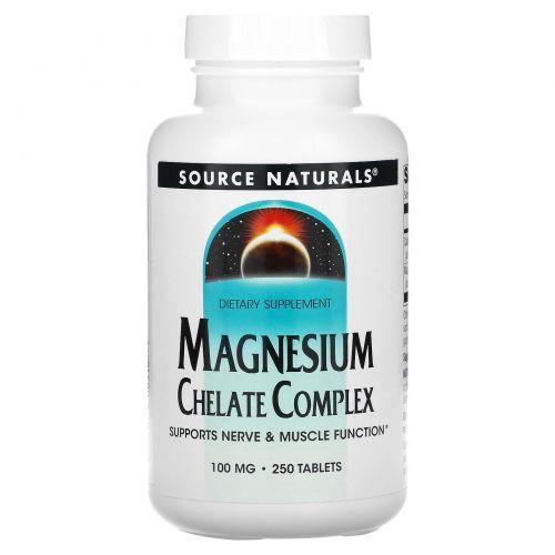 Source Naturals, Магния хелат, 100 мг, 250 таблеток