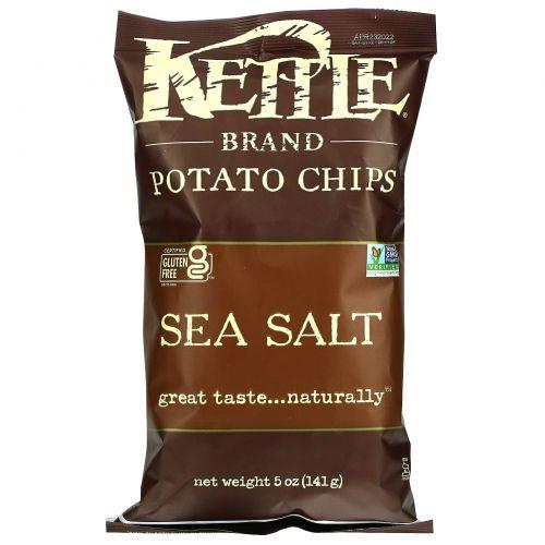 Kettle Foods, Картофельные чипсы, морская соль, 5 унций (142 г)