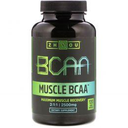 Zhou Nutrition, Muscle BCAA, максимальное восстановление мышц, 2500 мг, 120 вегетарианских капсул