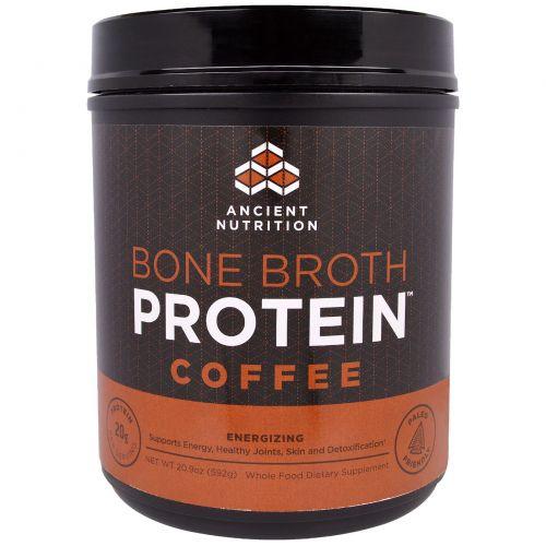 """Ancient Nutrition, """"Белок костного бульона"""", белковый порошок с кофейным вкусом, 20,9 унции (592 г)"""