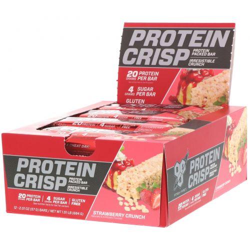 BSN, Protein Crisp, Strawberry Crunch, 12 bars, 2.01 oz (57 g) Each