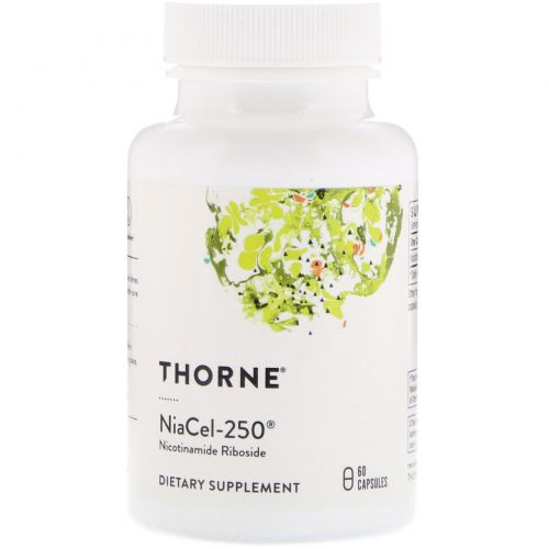 Thorne Research, Niacel-250, никотинамидрибозид, 60 вегетарианских капсул