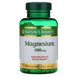 Nature's Bounty, Magnesium, 500 mg, 200 Coated Caplets