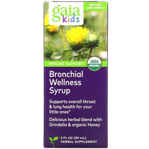 Gaia Herbs, Kids, Bronchial Wellness, для детей, не содержит алкоголя, 3 жидких унций (89 мл)