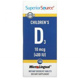 Superior Source, D3 для детей, 400 МЕ, 100 микролингвальных быстрорастворимых таблеток