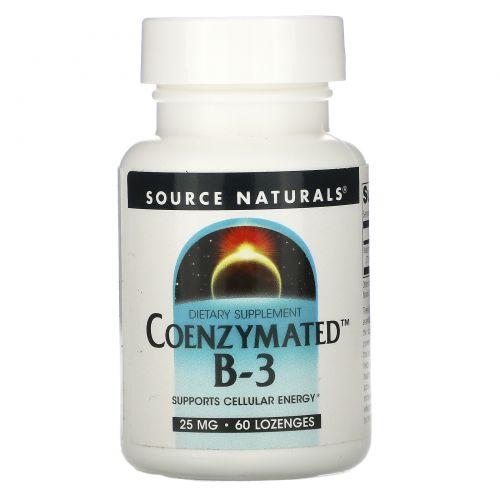 Source Naturals, Коферментный B-3, под язык, 25 мг, 60 таблеток