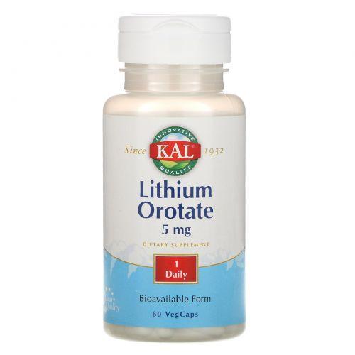 KAL, Оротат лития, 5 мг, 60 вегетарианских капсул