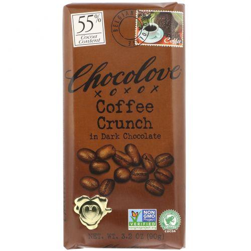 Chocolove, Кофейная крошка в темном шоколаде, 3,2 унции (90 г)
