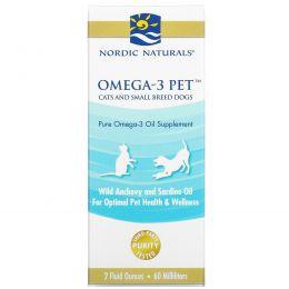 Nordic Naturals, Омега-3 для питомцев, для кошек и небольших собак, 2 жидких унции (60 мл)