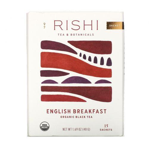 Rishi Tea, Organic Black Tea, English Breakfast, 15 Tea Bags 1.69 oz (48 g)