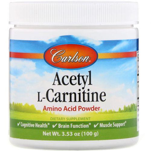 Carlson Labs, Ацетил-L-Карнитин, аминокислотный порошок, 100 г