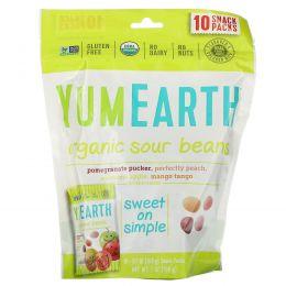 YumEarth, Organic Sour Beans, 10 Snack Packs, 0.7 oz (19.8 g) Each