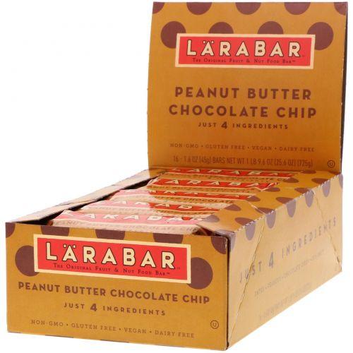 Larabar, Батончики с шоколадной крошкой и арахисовым маслом, 16 батончиков, каждый батончик по 1,6 унций (45 г)