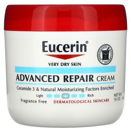 Eucerin, Усовершенствованный восстанавливающий крем для очень сухой кожи, без отдушек, 454г (16унций)