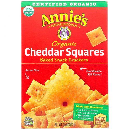 Annie's Homegrown, Cheddar Squares, запеченные квадратные крекеры с чеддером, 7.5 унций (213 г)