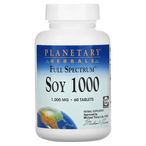 Planetary Herbals, Соя-1000 полного спектра, 1000 мг, 60 таблеток