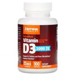 Jarrow Formulas, Витамин D3, 1000 МЕ, 100 гелевых капсул