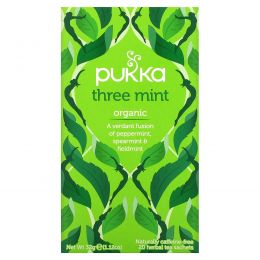 Pukka Herbs, Three Mint Herbal Tea, Caffeine Free, 20 Sachets, 1.12 oz (32 g)