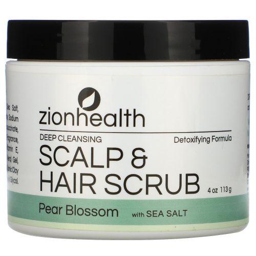 Zion Health, Adama, Глубоко очищающий скраб для волос и кожи головы, Груша в цвету, 4 унц. (113 г)