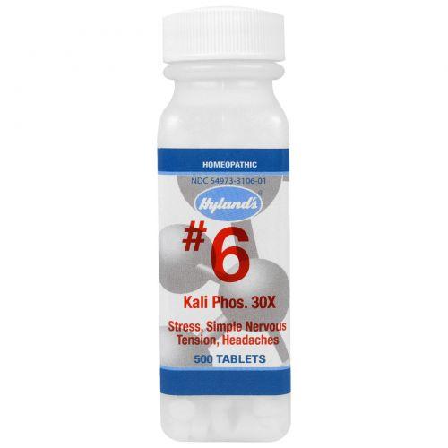 Hyland's, №6, Калий и фосфор 30X, 500 таблеток