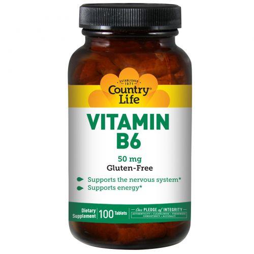 Country Life, Витамин B6, 50 мг, 100 таблеток
