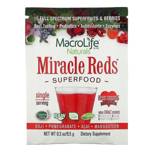 Macrolife Naturals, Miracle Reds, Superfood, Goji- Pomegranate- Acai- Mangosteen,  9.4 g