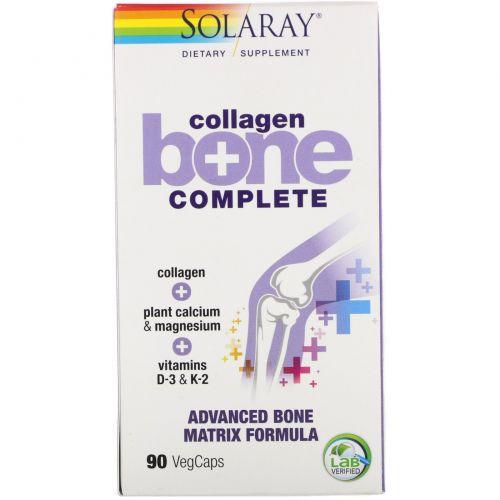 Solaray, Collagen Bone Complete, усовершенствованная формула костной матрицы, 90 капсул с оболочкой из ингредиентов растительного происхождения