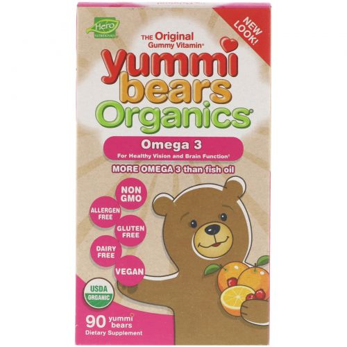 Hero Nutritional Products, Yummi Bears Organics, Fish Free Omega 3 with Chia Seed, All Natural Fruit Flavors, 90 Gummy Bears