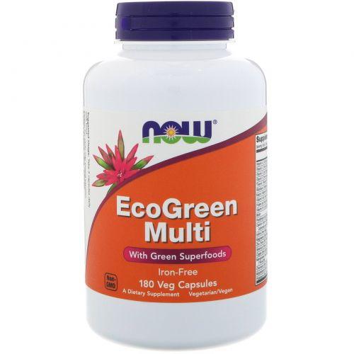 Now Foods, EcoGreen Мульти, без железа, 180 капсул в растительной оболочке