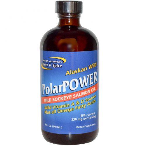 North American Herb & Spice Co., PolarPower рыбий жир из аляскинского дикого лосося (нерки), 8 жидких унций (240 мл)