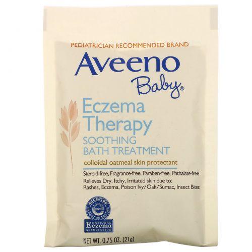 Aveeno, Для детей, лечение экземы, успокаивающая ванна, без запаха, 5 пакетов для ванны, 3.75 унций (106 г)