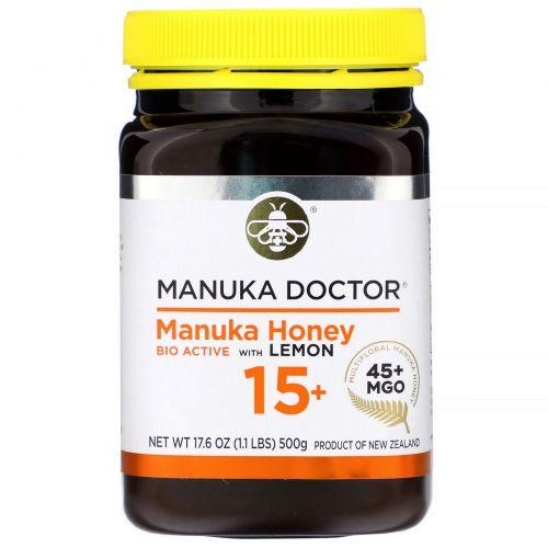 Manuka Doctor, Apiwellness, Био Активный Манука Мед с лимоном,  15+, 1,1 фунта (500 г)